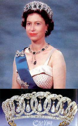 """图:戴安娜王妃在婚礼上所佩戴的著名""""珍珠泪""""王冠图:这是伊丽莎"""