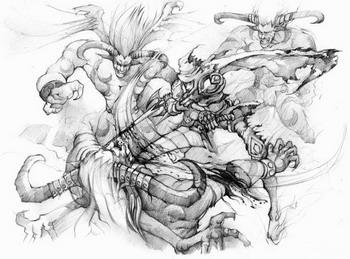 魔兽世界 玩家手绘 战斗在外域的部落