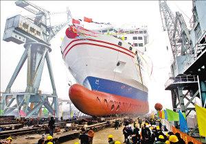 7000吨级 中铁渤海3号 天津新港船厂顺利下水