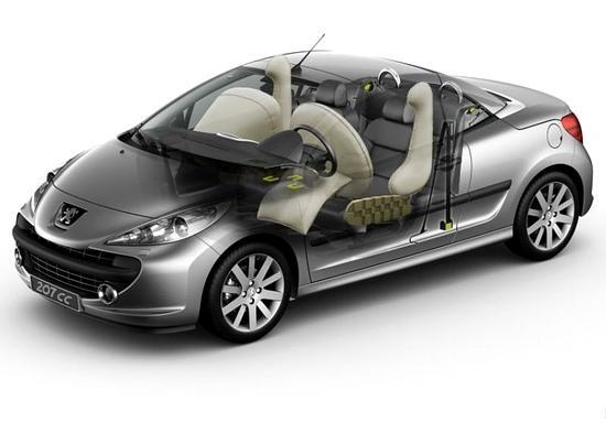 图为207CC的安全结构图解    207CC为车内乘员提供了最高标准的安全保护,在欧洲NCAP碰撞测试中达到了5星级碰撞标准。在安全配置方面,207CC标配了ESP的同时也配有五个安全气囊,除了两个前排正面安全气囊2个正面气囊、两个可提供躯干和头部保护的前排侧面气囊,207CC还配有独特的转向柱膝部气囊,可正面碰撞中有效的保护驾驶员的双腿。另外,207CC还强化了车身的强度,用高强度钢材对车身的特殊部位进行了加固,它的防翻滚系统由挡风玻璃四周的高强度钢和座椅后的防滚架组成。当ECU接收到角度传感器