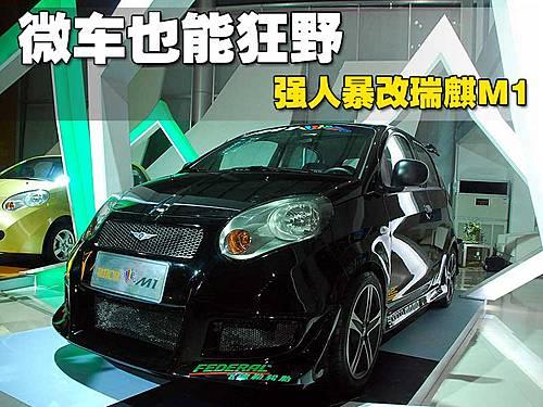 瑞麒m1改装车的前杠换成了运动型前包围,看起来非常的运动,改高清图片