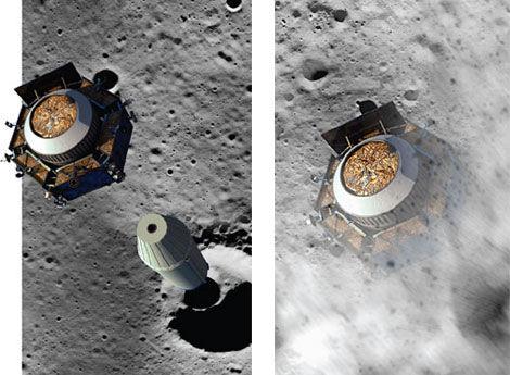 LCROSS实验撞击月球的模拟图-很愚很暴力 揭开美国宇航局撞击月球