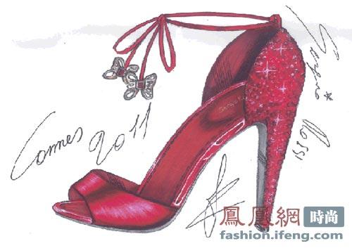 時尚高跟鞋設計手稿素描圖