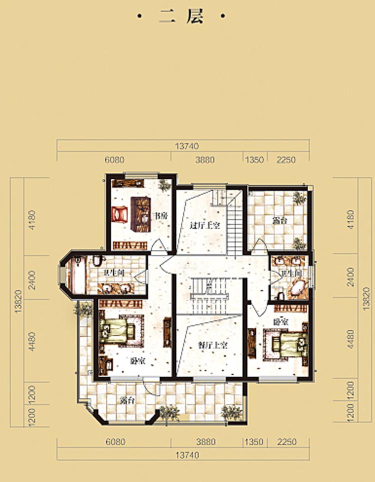 维拉villa庄园独栋别墅279平米二层户型图