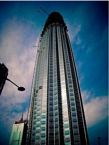 """津塔"""",它是天津市新的地标式建筑"""