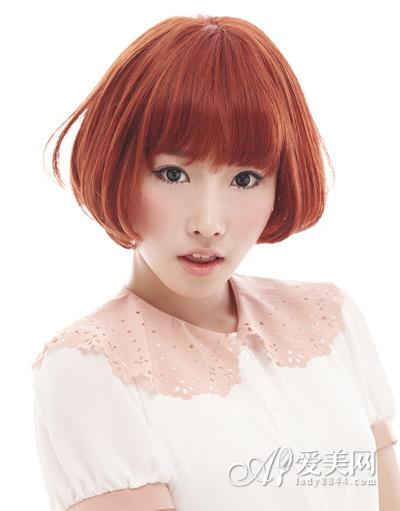 酒红色韩式短发烫发波波头华丽俏皮