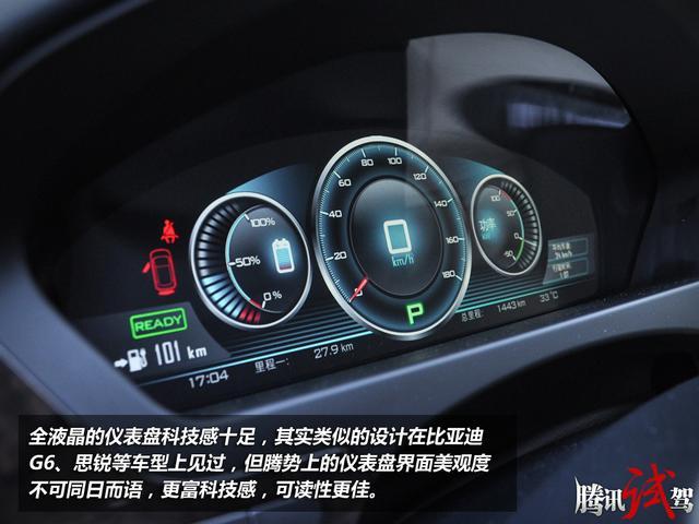 DENZA腾势电动车试驾   全液晶的仪表盘科技感十足,其实类似的设计在比亚迪G6、思锐等车型上见过,但腾势上的仪表盘界面美观度不可同日而语,更富科技感,可读性更佳。三个圆形仪表从左至右分别是电量表、时速表、输出功率表,输出功率表还可以显示能量回收系统工作状况。这块全液晶仪表盘,界面美观富有未来感,无论是色彩还是可视角度上的表现都达到了比亚迪前所未有的高度。