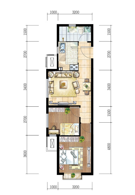 建筑面积69平米户A型图