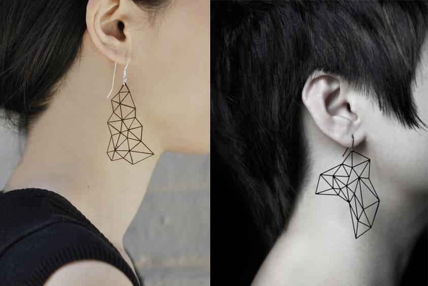 耳朵旁边纹身图案设计