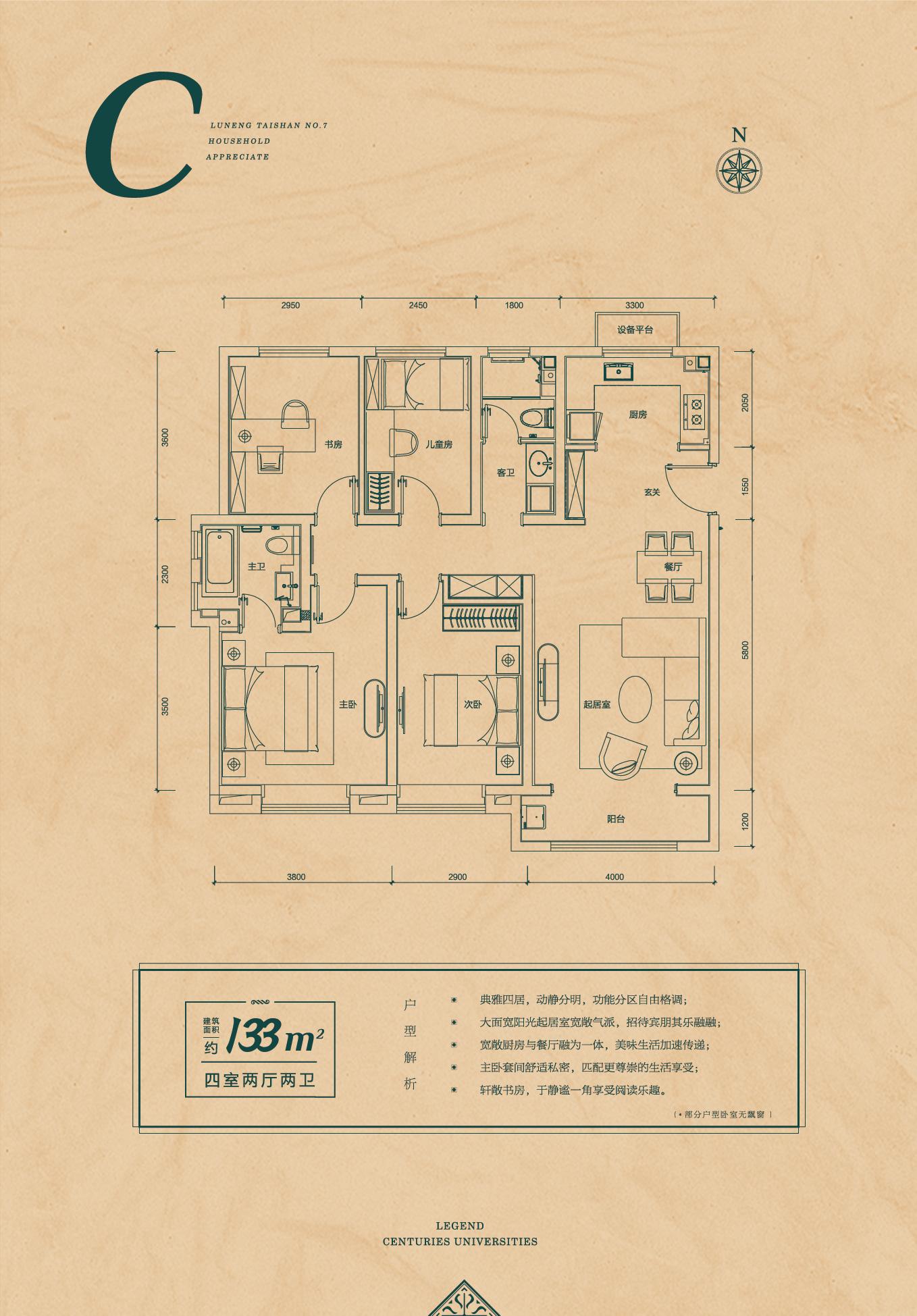 建筑面积133平米户型图