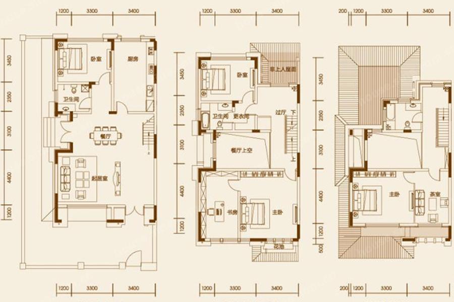 建筑面积234平米户型图