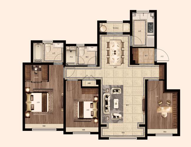 仁恒海和院 126平米户型
