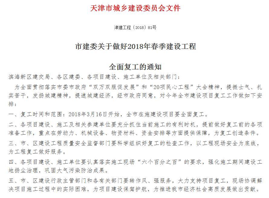 3月16日 2018年天津春季建设工程全面复工!