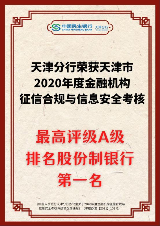 民生银行天津分行喜获天津市2020年度征信考核评级股份制银行